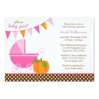 Fall Pumpkin Pink Orange Banner Girl Invitations