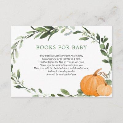 Fall pumpkins greenery baby shower book request enclosure card