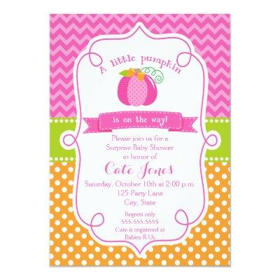 Fall Pumplin Baby Shower, Girl Pumpkin Invitation