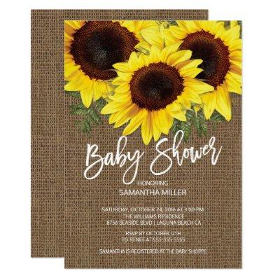 Fall Sunflowers Neutral Baby Shower Invitations