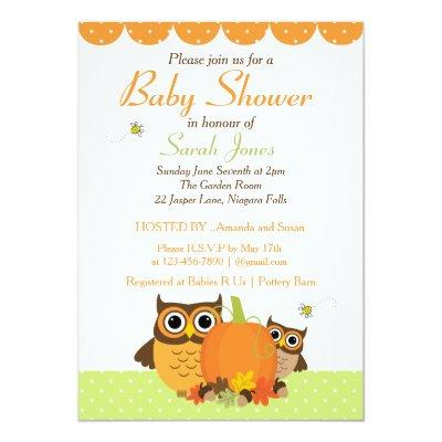 Fall Theme Baby Shower Cute Owls and Pumpkin Invitation