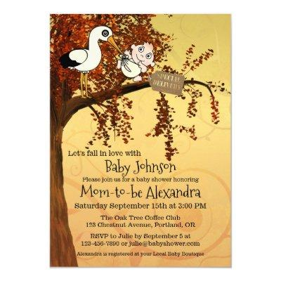 Fall Tree Cute Stork Baby Shower Invitation