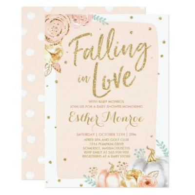 Falling In Love Baby Shower Invitation Pink Gold