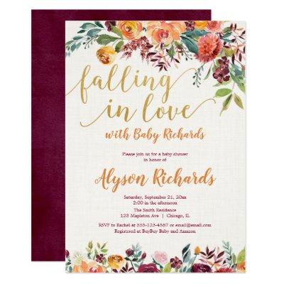 Falling in love fall floral rustic baby shower invitation