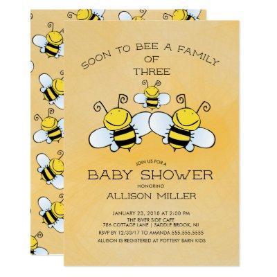 Family of 3 Bee Baby Shower Invitation