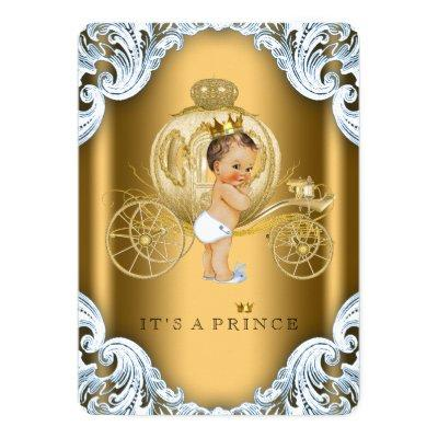 Fancy Blue and Gold Carriage Prince Baby Shower Invitation