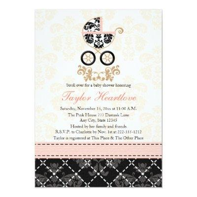 Fancy Pink and Black Damask Carriage Invitations
