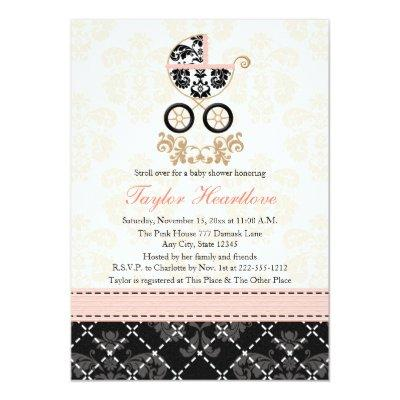 Fancy Pink and Black Damask Carriage Baby Shower Invitations