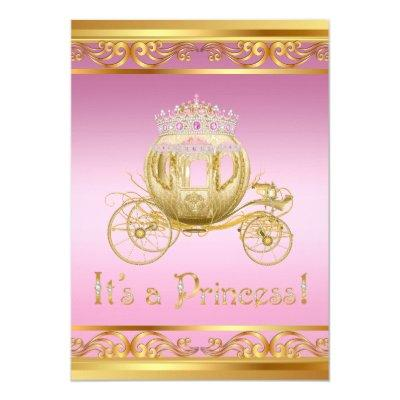 Fancy Pink Gold Princess Baby Shower Invitations