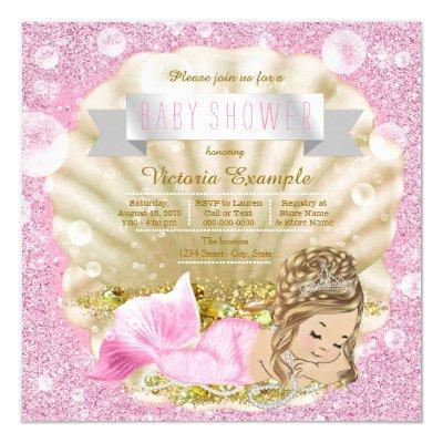 Fancy Pink Pearl Mermaid Baby Shower Invitation