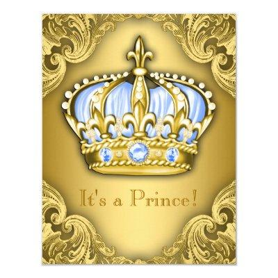 Fancy Prince Baby Shower Baby Blue Gold Invitations