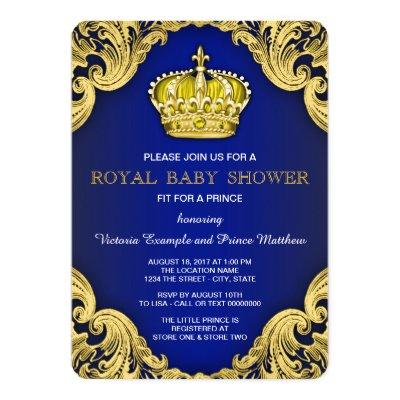 Fancy Prince Blue and Gold Invitations