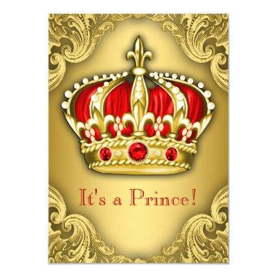 Fancy Prince Red and Gold Invitations