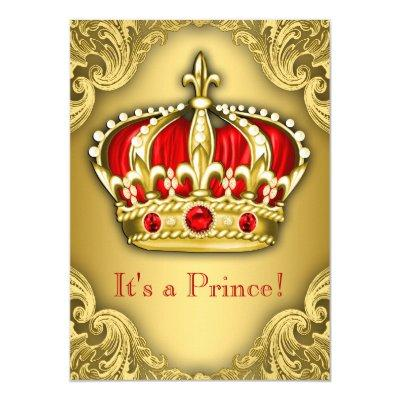 Fancy Prince Baby Shower Red and Gold Invitations