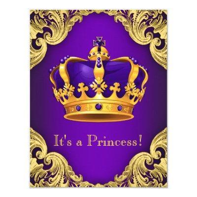 Fancy Purple Gold Princess Invitations