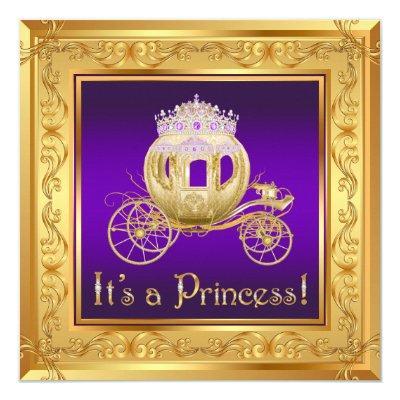 Fancy Purple Gold Princess Baby Shower Invitations