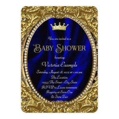Fancy Royal Blue and Gold Prince Baby Shower Invitation