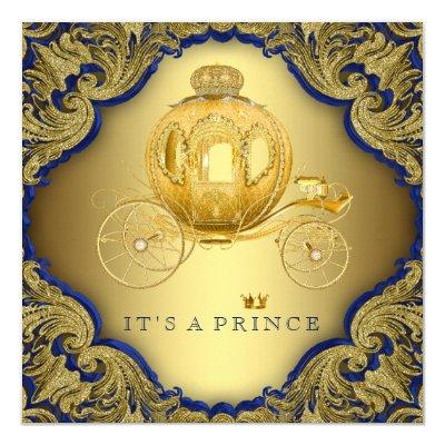 Fancy Royal Blue Gold Glitter Prince Baby Shower Invitation