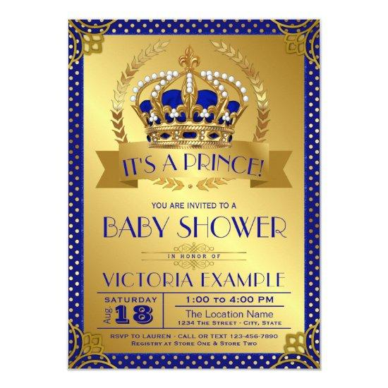 Fancy Royal Blue Gold Prince Baby Shower Card