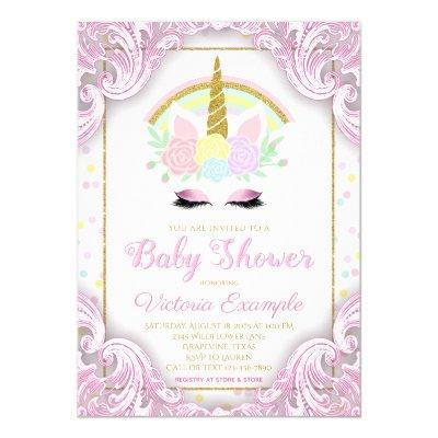 Fancy Unicorn Baby Girl Shower Invitations