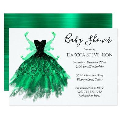 Fantasy Pixie Wings and Green Gown | Baby Shower Invitation