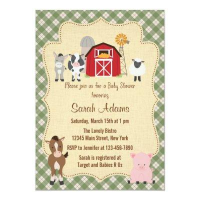 Farm Animal Baby Shower Invitations Rustic