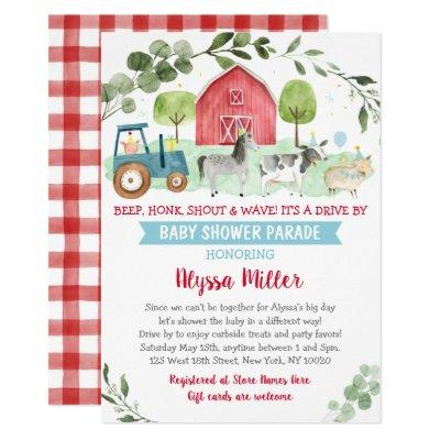 Farm Animal Drive By Baby Shower Parade Invitation