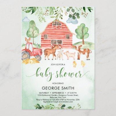 Farm animals theme greenery leaves Boy Baby Shower Invitation