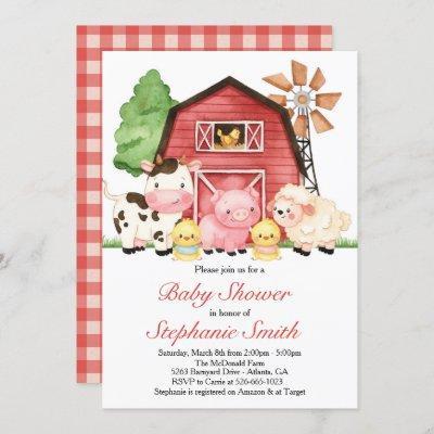Farm Baby Shower invitation, Barnyard Baby Shower Invitation