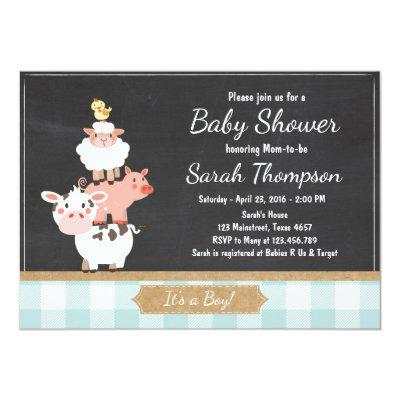 Farm Baby Shower Invitations Country Baby Boy Blue