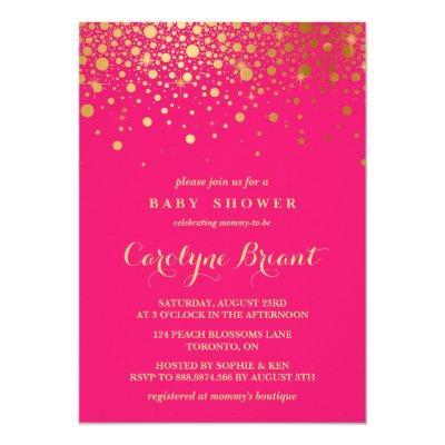 Faux Gold Foil Confetti   Hot Pink