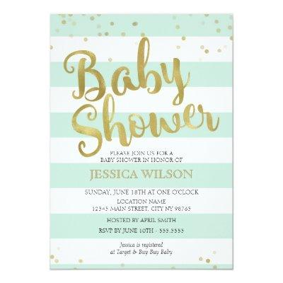 Faux Gold Foil, Mint Green Stripes Invitations