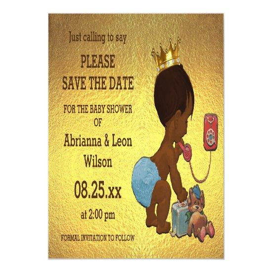 faux gold foil save the date ethnic prince phone magnetic