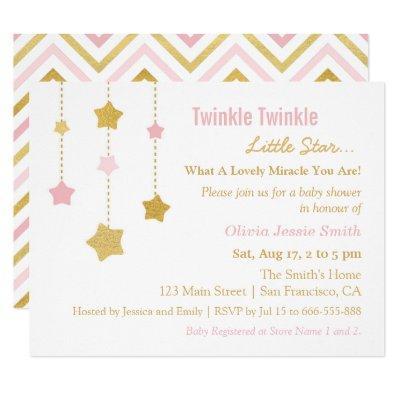 Faux Gold Pink Twinkle Little Star