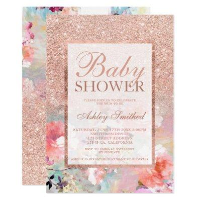 Faux rose gold floral watercolor Baby shower Invitations