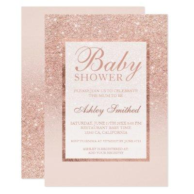 Faux rose gold glitter elegant chic Baby shower Invitation