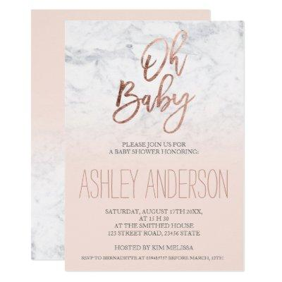 Faux rose gold typography marble blush