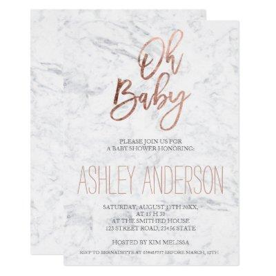 Faux rose gold typography marble chic Baby shower Invitations