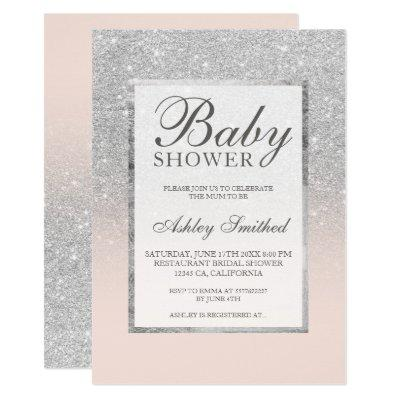 Faux silver glitter blush elegant Baby shower Invitation