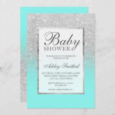 Faux silver glitter teal elegant Baby shower Invitation