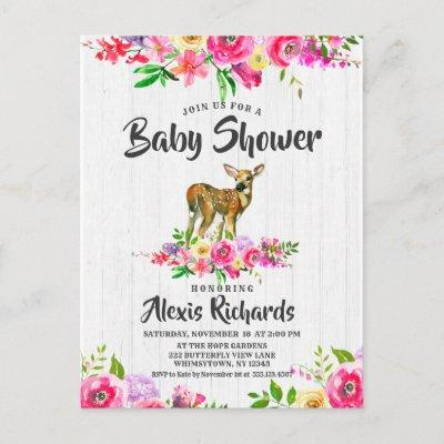 Fawn Deer Watercolor Floral Baby Shower Invitations