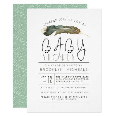 Feather Watercolor Baby Shower Invitation