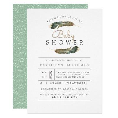 Feather Watercolor Baby Shower Invitations