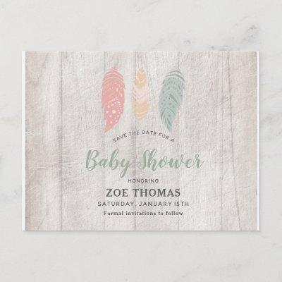 Feathers Boho Baby Shower Save The Date Invitation Postcard
