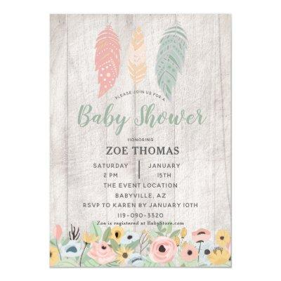 Feathers Floral Boho Baby Shower Invitations