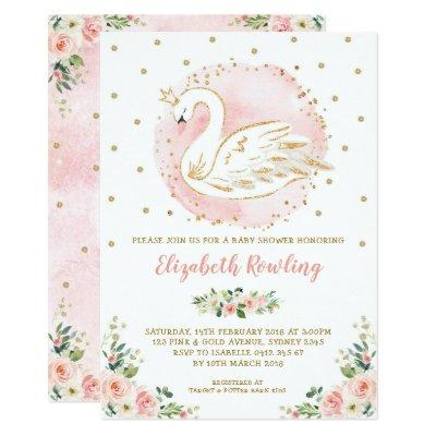 Feminine Swan Princess Pink Gold Baby Shower Invitation
