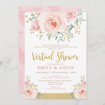 Feminine Virtual Baby Shower Blush Pink Gold Roses Invitation