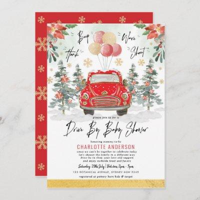 Festive Christmas Holiday Drive By Baby Shower Invitation