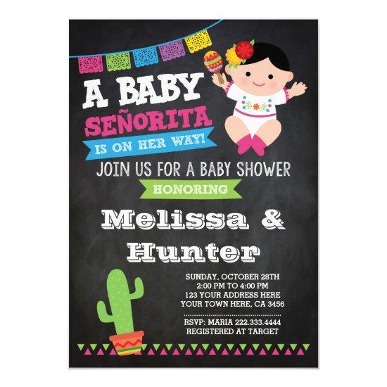 Fiesta Baby Shower, Chalkboard Invite