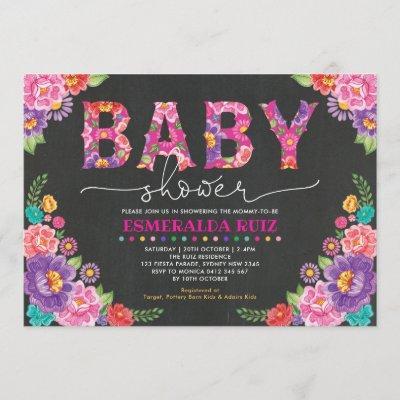 Fiesta Baby Shower | Mexican Floral Chalkboard Invitation